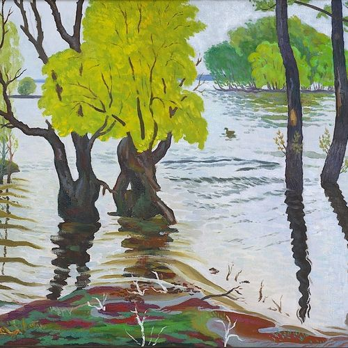 spill of the river don, 38 x 39 inch, moesey li,nature paintings,paintings for living room,paintings,canvas,oil paint,38x39inch,GAL07181796Nature,environment,Beauty,scenery,greenery