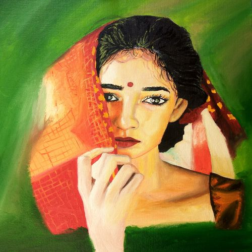 indian woman, 16 x 20 inch, namrata dey,paintings,portrait paintings,abstract expressionist paintings,realistic paintings,paintings for dining room,paintings for living room,paintings for bedroom,paintings for hotel,paintings for kitchen,paintings for school,paintings for hospital,canvas board,oil,16x20inch,GAL0866517967