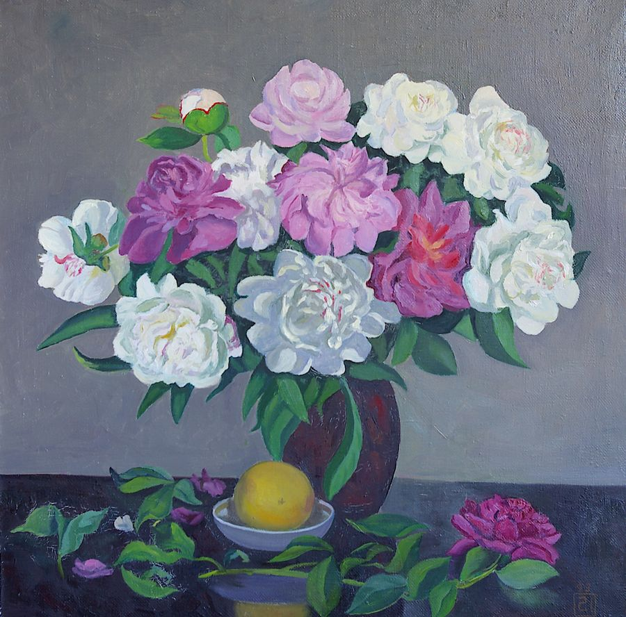 peonies and a lemon, 25 x 25 inch, moesey li,flower paintings,paintings for living room,paintings,canvas,oil paint,25x25inch,GAL07181797
