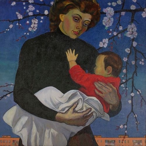 motherhood, 39 x 39 inch, moesey li,figurative paintings,paintings for living room,paintings,canvas,oil paint,39x39inch,GAL07181798