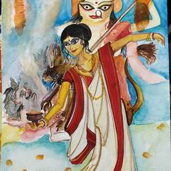 dhunuchi naach, 8 x 12 inch, minakshi karmakar,paintings,figurative paintings,religious paintings,brustro watercolor paper,watercolor,8x12inch,GAL0783517987