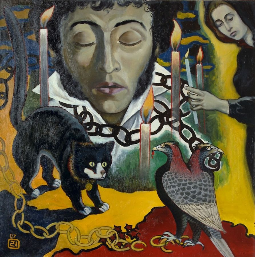 death of the poet (a.s. pushkin), 32 x 32 inch, moesey li,realism paintings,paintings for living room,paintings,canvas,oil paint,32x32inch,GAL07181799