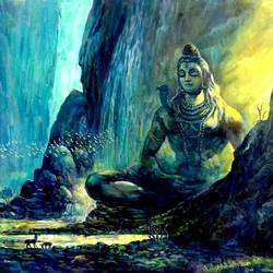 shiva meditating, 42 x 30 inch, vishal gurjar,lord shiva paintings,paintings for dining room,paintings for living room,paintings for bedroom,paintings for office,paintings for hotel,paintings for school,paintings for hospital,canvas,acrylic color,oil,42x30inch