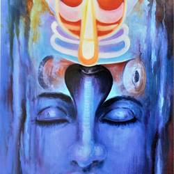 mahadev, 18 x 27 inch, vishal gurjar,lord shiva paintings,paintings for dining room,paintings for living room,paintings for bedroom,paintings for office,paintings for hotel,paintings for school,paintings for hospital,canvas,acrylic color,oil,18x27inch