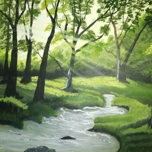 forest with sunlight, 16 x 11 inch, swati chauhan,paintings,landscape paintings,thick paper,oil,16x11inch,GAL0862217994