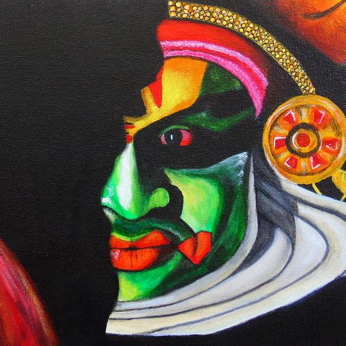 mask of real life kathakali, 12 x 9 inch, rijoy  emmanuel,paintings,figurative paintings,portrait paintings,paintings for living room,paintings for office,canvas,acrylic color,12x9inch,GAL0643117996