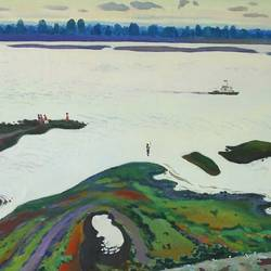 volga river, 24 x 32 inch, moesey li,landscape paintings,paintings for living room,paintings,canvas,oil paint,24x32inch,GAL07181800