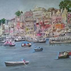 assi ghat-varanasi, 24 x 30 inch, amit kumar sinha,paintings,landscape paintings,paintings for dining room,paintings for living room,paintings for office,paintings for kids room,paintings for hotel,paintings for kitchen,paintings for school,paintings for hospital,canvas,oil,24x30inch,GAL0691318000