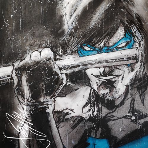 pop art- of nightwing...in ink, charcoal and pencils, 12 x 17 inch, joydeep mitra,drawings,paintings for dining room,paintings for living room,paintings for bedroom,paintings for office,paintings for bathroom,paintings for kids room,abstract expressionist drawings,conceptual drawings,expressionist drawings,fine art drawings,impressionist drawings,modern drawings,paintings for dining room,paintings for living room,paintings for bedroom,paintings for office,paintings for bathroom,paintings for kids room,fabriano sheet,charcoal,pen color,photo ink,graphite pencil,12x17inch,GAL0768318006