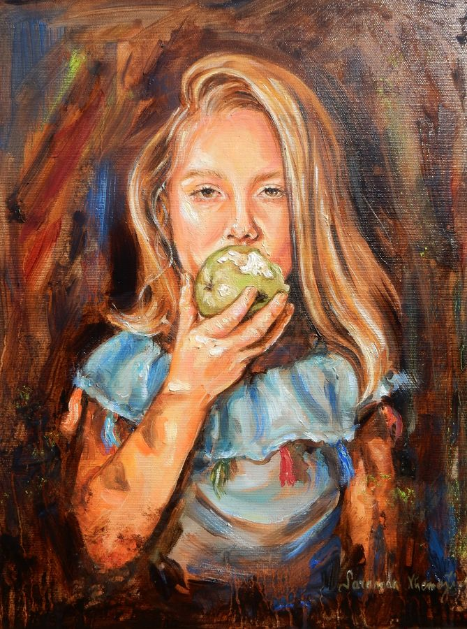 sweet and sour, 18 x 14 inch, saranda xhemajli,paintings,figurative paintings,portrait paintings,realism paintings,paintings for dining room,paintings for living room,paintings for kids room,paintings for hotel,paintings for kitchen,paintings for school,paintings for hospital,canvas,oil,18x14inch,GAL0797518009
