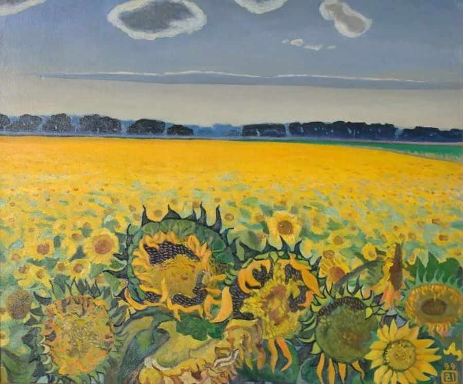 field of sunflowers, 30 x 35 inch, moesey li,landscape paintings,paintings for dining room,paintings,canvas,oil paint,30x35inch,GAL07181802