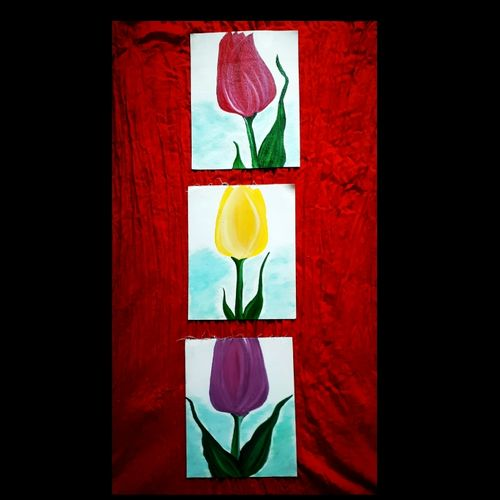 tulip triplets, 30 x 10 inch, praveena shree egambaram,paintings,flower paintings,multi piece paintings,still life paintings,nature paintings,expressionist paintings,realism paintings,contemporary paintings,paintings for dining room,paintings for living room,paintings for bedroom,paintings for office,paintings for kids room,paintings for hotel,paintings for kitchen,paintings for school,paintings for hospital,canvas,oil,30x10inch,GAL0681418043Nature,environment,Beauty,scenery,greenery,beautiful,leaves,tulip