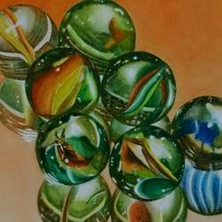 marvelous marbles, 9 x 9 inch, sampeeta banerjee,paintings,still life paintings,realism paintings,realistic paintings,paintings for office,paintings for kids room,paintings for hotel,paper,watercolor,9x9inch,GAL0763718048