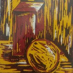 still life in lino, 8 x 12 inch, neetu tewari,still life paintings,thick paper,photo ink,8x12inch,GAL0874418051