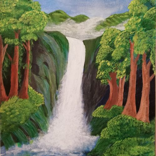 waterfall across mountains, 16 x 11 inch, swati chauhan,paintings,nature paintings,paintings for living room,paintings for living room,thick paper,oil,16x11inch,GAL0862218057Nature,environment,Beauty,scenery,greenery