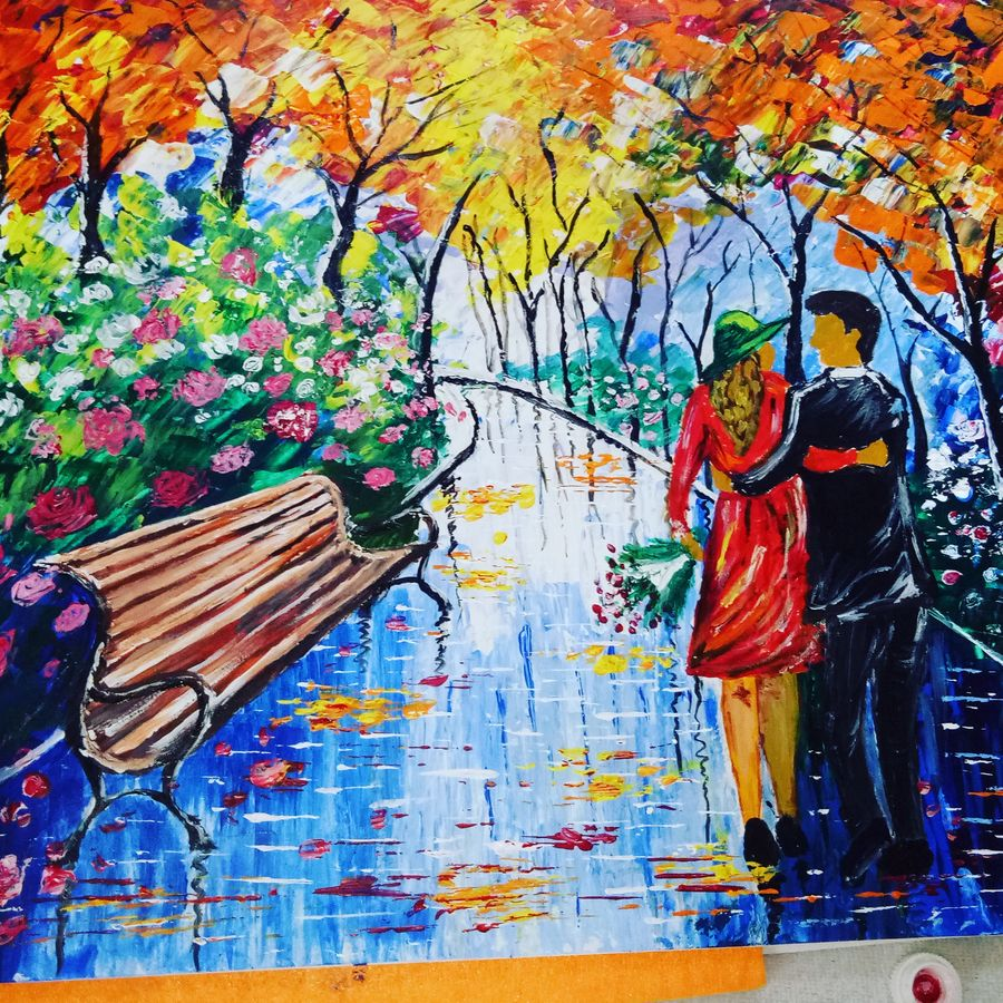 evening walk, 11 x 14 inch, nikky kumari,paintings,flower paintings,cityscape paintings,paintings for living room,paintings for office,paper,acrylic color,11x14inch,GAL0860418059
