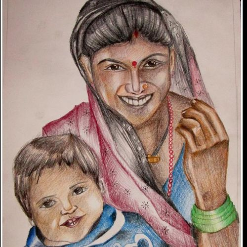 woman, 12 x 16 inch, kanthi sukanthi,portrait paintings,paintings for dining room,paper,pencil color,12x16inch,GAL07241806