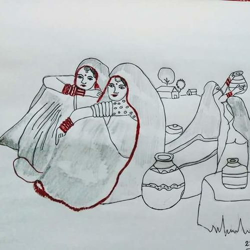 rural beauty, 9 x 10 inch, rakhi guha,drawings,paintings for living room,fine art drawings,paintings for living room,thick paper,ink color,9x10inch,GAL0875418066