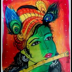 krishna, 12 x 16 inch, kanthi sukanthi,religious paintings,paintings for living room,radha krishna paintings,thick paper,acrylic color,12x16inch,GAL07241807
