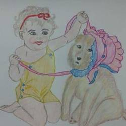 cute baby, 8 x 10 inch, rakhi guha,paintings,portrait paintings,paintings for bedroom,paper,pencil color,8x10inch,GAL0875418072