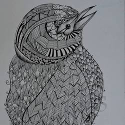designed bird, 12 x 16 inch, kanthi sukanthi,fine art drawings,paintings for bedroom,paper,ball point pen,12x16inch,GAL07241808