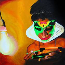 before the big game kathakali acrylic painting, 18 x 14 inch, rijoy  emmanuel,paintings,figurative paintings,still life paintings,portrait paintings,paintings for dining room,paintings for office,paintings for hotel,paintings for dining room,paintings for office,paintings for hotel,canvas,acrylic color,18x14inch,GAL0643118081