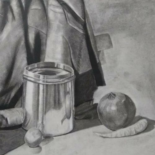 still life in charcoal and pencil, 12 x 17 inch, neetu tewari,paintings for dining room,paintings for hotel,paintings for kitchen,fine art drawings,realism drawings,paintings for dining room,paintings for hotel,paintings for kitchen,canson paper,charcoal,12x17inch,GAL0874418083