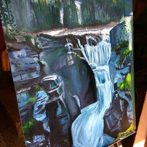 hidden cascade, 20 x 24 inch, namrata dey,paintings,landscape paintings,nature paintings,paintings for dining room,paintings for bedroom,paintings for kids room,paintings for hotel,paintings for school,paintings for hospital,canvas board,oil,20x24inch,GAL0866518085Nature,environment,Beauty,scenery,greenery