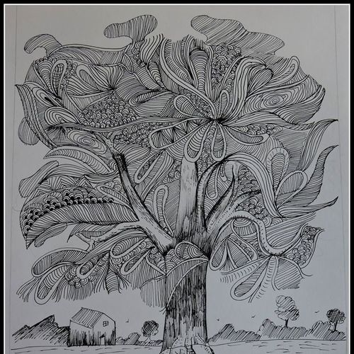 tree, 12 x 16 inch, kanthi sukanthi,abstract drawings,paintings for bedroom,paper,ball point pen,12x16inch,GAL07241809