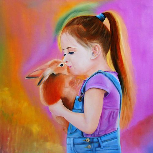 me and my pet rabbit oil painting, 21 x 15 inch, rijoy  emmanuel,paintings,figurative paintings,still life paintings,portrait paintings,paintings for dining room,paintings for living room,paintings for kids room,paintings for school,canvas,oil,21x15inch,GAL0643118094