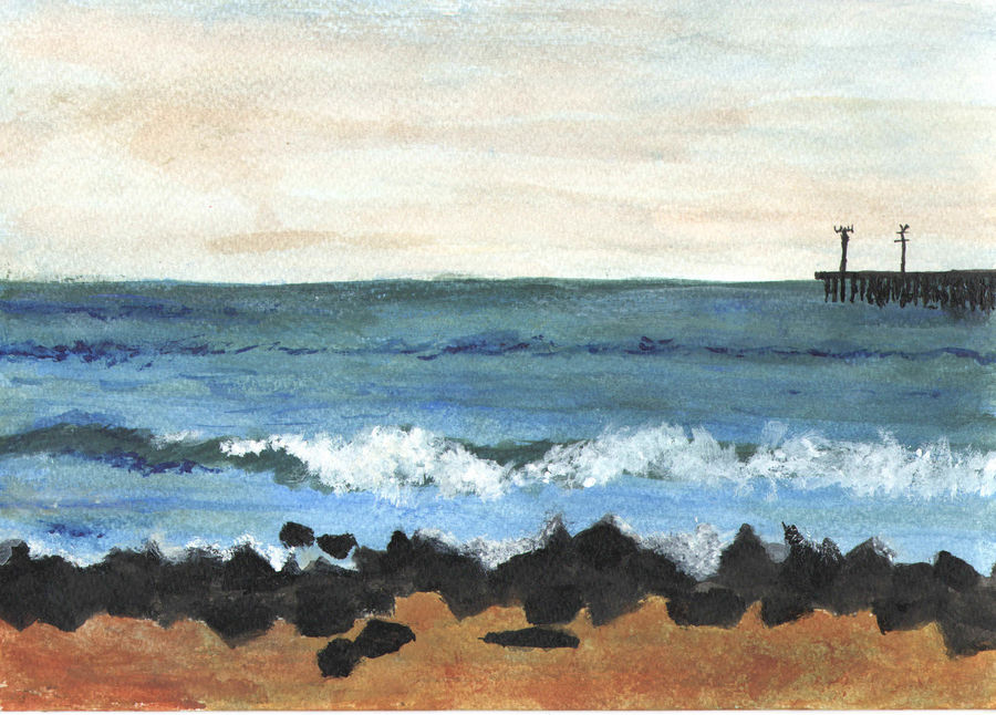 sea, 7 x 10 inch, idhaya bency  james,paintings,landscape paintings,nature paintings,paintings for living room,renaissance watercolor paper,acrylic color,7x10inch,GAL0880518097Nature,environment,Beauty,scenery,greenery