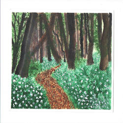 woods, 7 x 10 inch, idhaya bency  james,paintings,phad painting,paintings for living room,paintings for bedroom,renaissance watercolor paper,acrylic color,7x10inch,GAL0880518099