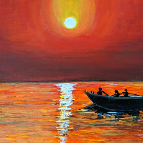 beauty of sun sets, 16 x 12 inch, promila singh,paintings,nature paintings,paintings for living room,paintings for living room,thick paper,acrylic color,16x12inch,GAL0823218102Nature,environment,Beauty,scenery,greenery