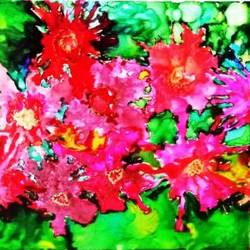 flowers in my garden, 8 x 12 inch, swapnaja mohite,paintings,flower paintings,paintings for living room,ohp plastic sheets,ink color,8x12inch,GAL0824018109