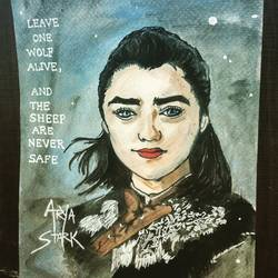 game of thrones arya stark, 6 x 8 inch, pooja walavalkar,paintings,portrait paintings,realistic paintings,paintings for living room,paintings for bedroom,paintings for hotel,paintings for living room,paintings for bedroom,paintings for hotel,brustro watercolor paper,poster color,watercolor,6x8inch,GAL0884118114