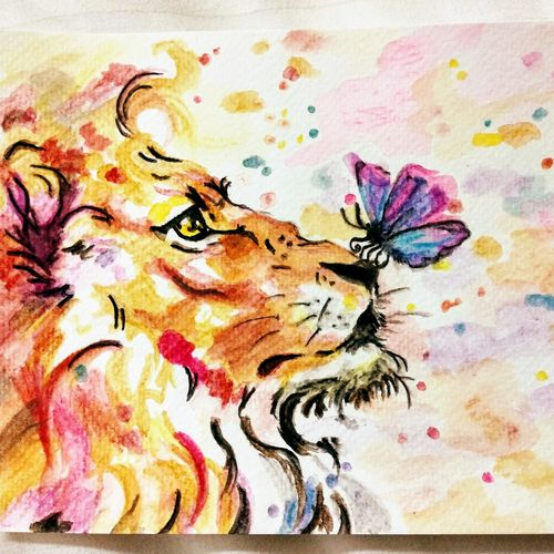 animal lion abstract butterfly, 6 x 8 inch, pooja walavalkar,wildlife paintings,conceptual paintings,nature paintings,animal paintings,paintings for living room,paintings for office,paintings for hotel,brustro watercolor paper,poster color,watercolor,6x8inch,GAL0884118116Nature,environment,Beauty,scenery,greenery
