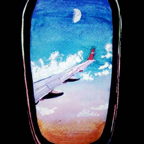 window, fly, plane, 6 x 8 inch, pooja walavalkar,paintings,landscape paintings,conceptual paintings,paintings for office,paintings for hotel,paintings for school,brustro watercolor paper,poster color,watercolor,6x8inch,GAL0884118117