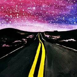night sky and road, 6 x 8 inch, pooja walavalkar,abstract paintings,landscape paintings,paintings for dining room,paintings for living room,paintings for bedroom,brustro watercolor paper,poster color,watercolor,6x8inch,GAL0884118118