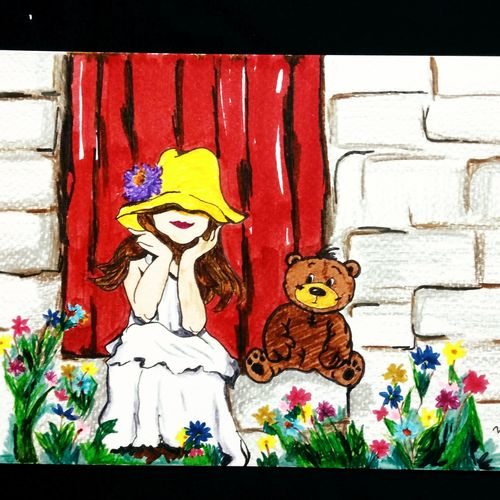 a girl with teddy bear, 6 x 8 inch, pooja walavalkar,paintings,art deco paintings,children paintings,paintings for dining room,paintings for living room,paintings for bedroom,paintings for kids room,paintings for hotel,paintings for school,paintings for hospital,brustro watercolor paper,pen color,pencil color,6x8inch,GAL0884118119