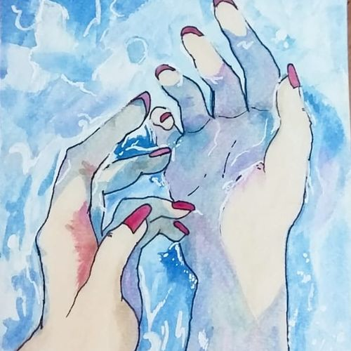 water, hands, 6 x 8 inch, pooja walavalkar,abstract paintings,conceptual paintings,illustration paintings,pop art paintings,realism paintings,surrealist paintings,contemporary paintings,paintings for living room,paintings for bathroom,paintings for hotel,paintings for living room,paintings for bathroom,paintings for hotel,brustro watercolor paper,poster color,watercolor,6x8inch,GAL0884118121
