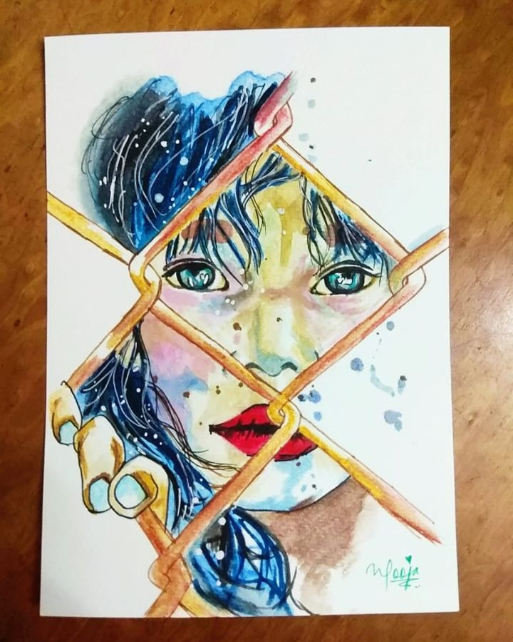 girl, trapped, mind, 6 x 8 inch, pooja walavalkar,conceptual paintings,portrait paintings,photorealism,realistic paintings,paintings for dining room,paintings for living room,paintings for hotel,brustro watercolor paper,poster color,watercolor,6x8inch,GAL0884118122