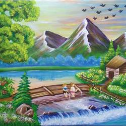 nature love, 32 x 20 inch, siddhi munot,paintings,nature paintings,paintings for dining room,paintings for living room,paintings for bedroom,paintings for office,paintings for kids room,paintings for hotel,paintings for school,paintings for hospital,canvas,acrylic color,32x20inch,GAL0393818126Nature,environment,Beauty,scenery,greenery