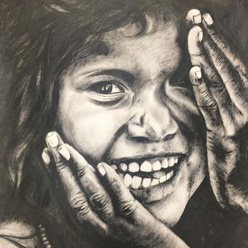 happiness beyond darkness, 14 x 17 inch, monisha  singhal,figurative paintings,portrait paintings,portraiture,paintings for hotel,paintings for school,paper,ink color,14x17inch,GAL0473818129