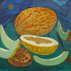 melons, 24 x 28 inch, moesey li,still life paintings,paintings for dining room,paintings,canvas,oil paint,24x28inch,GAL07181813
