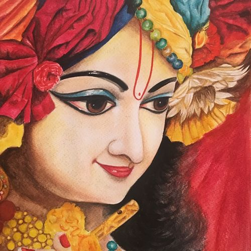man mohana , 10 x 12 inch, monisha  singhal,paintings,figurative paintings,religious paintings,radha krishna paintings,paintings for dining room,paintings for living room,paintings for office,paintings for kids room,paintings for hotel,paintings for kitchen,paintings for school,paintings for hospital,brustro watercolor paper,watercolor,10x12inch, lord krishna,Krishna,flute,religious,face,smiling,GAL0473818132,,krishna,Lord krishna,krushna,radha krushna,flute,peacock feather,melody,peace,religious,god,flower,leaves,man mohana