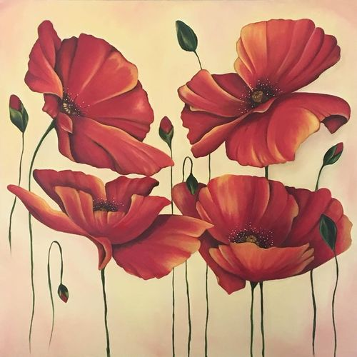the vibrant poppies , 36 x 36 inch, monisha  singhal,paintings,flower paintings,nature paintings,paintings for dining room,paintings for living room,paintings for bedroom,paintings for office,paintings for hotel,paintings for school,paintings for hospital,canvas,oil,36x36inch,GAL0473818133Nature,environment,Beauty,scenery,greenery
