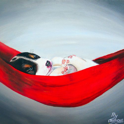 cute sleeping, 18 x 14 inch, rijoy  emmanuel,paintings,figurative paintings,still life paintings,animal paintings,paintings for dining room,paintings for living room,paintings for office,paintings for kids room,canvas,acrylic color,18x14inch,GAL0643118136