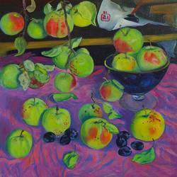 apples, 23 x 22 inch, moesey li,still life paintings,paintings for dining room,paintings,canvas,oil paint,23x22inch,GAL07181815