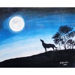 full moon, 11 x 9 inch, priya spandana,paintings,nature paintings,paintings for living room,thick paper,watercolor,11x9inch,GAL0888018151Nature,environment,Beauty,scenery,greenery