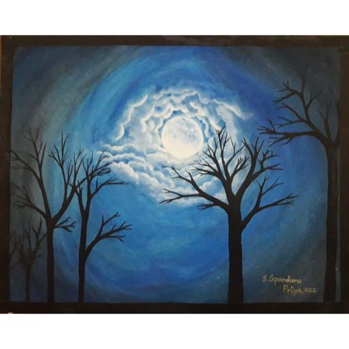 cloudy night, 11 x 9 inch, priya spandana,paintings,nature paintings,paintings for living room,thick paper,watercolor,11x9inch,GAL0888018153Nature,environment,Beauty,scenery,greenery
